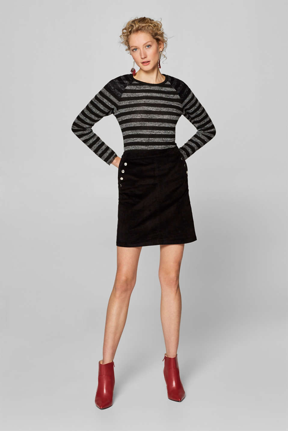 Esprit - Striped stretch tee trimmed with lace