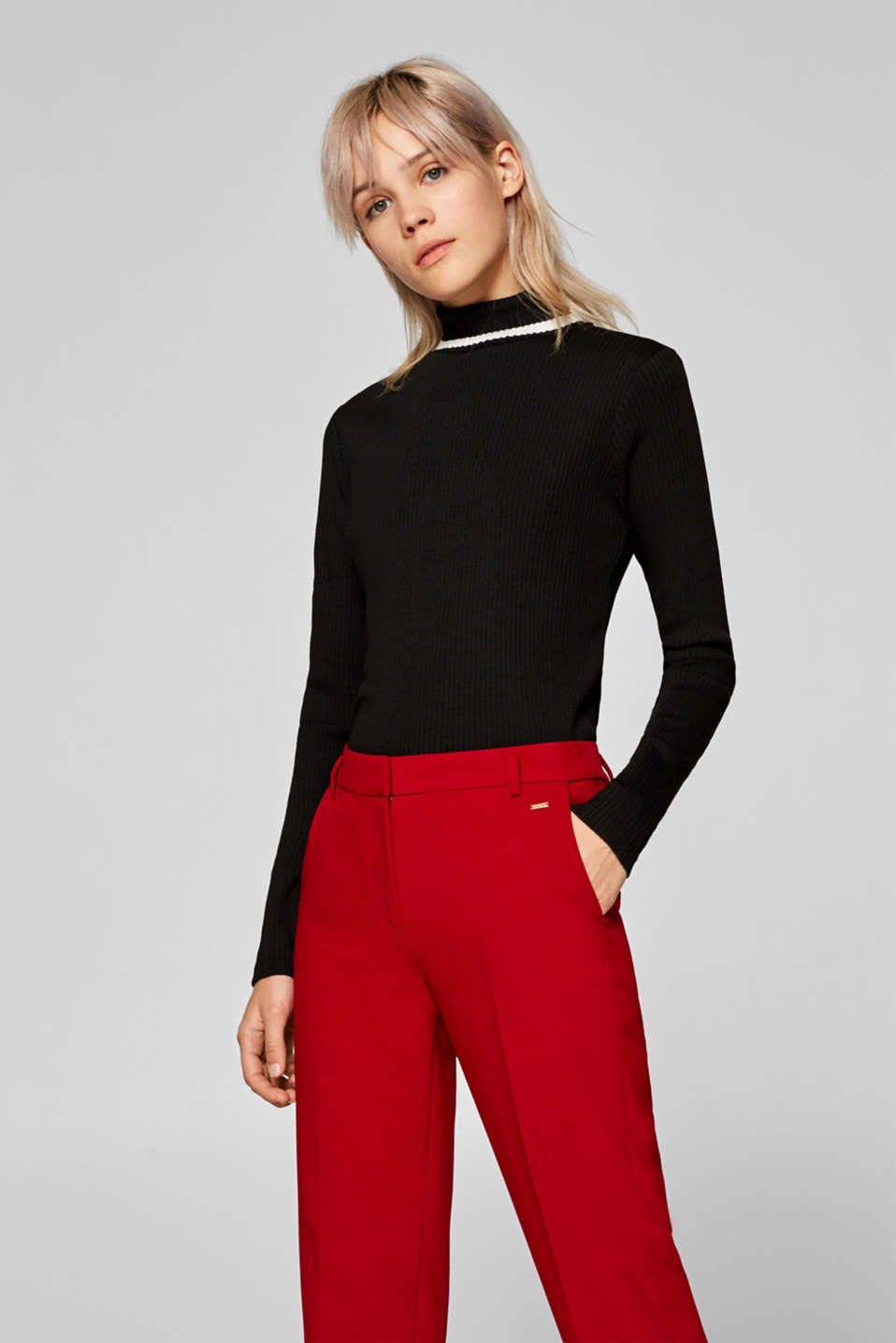 Esprit - Polo neck long sleeve top in ribbed jersey