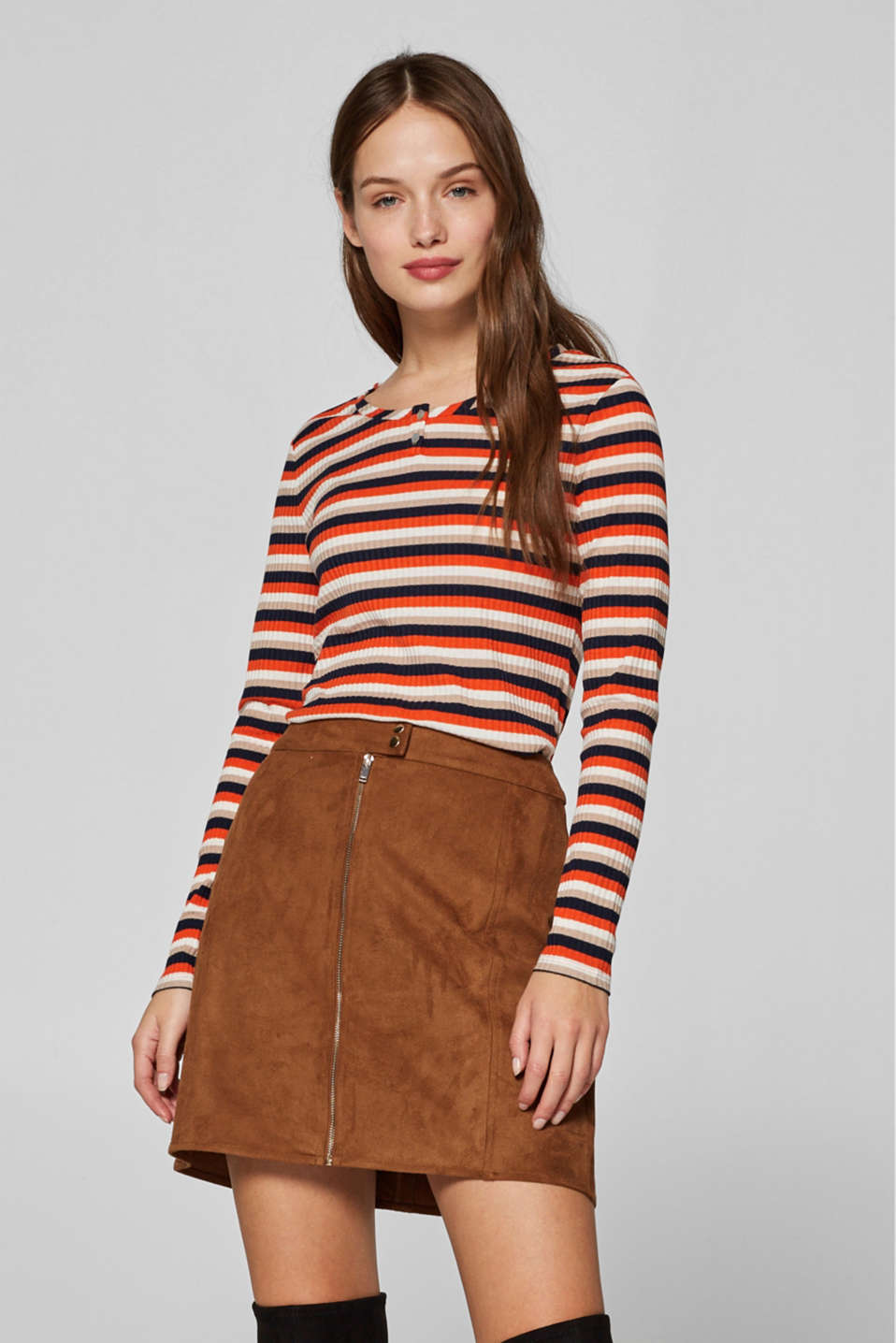 Esprit - Long sleeve top with a striped design