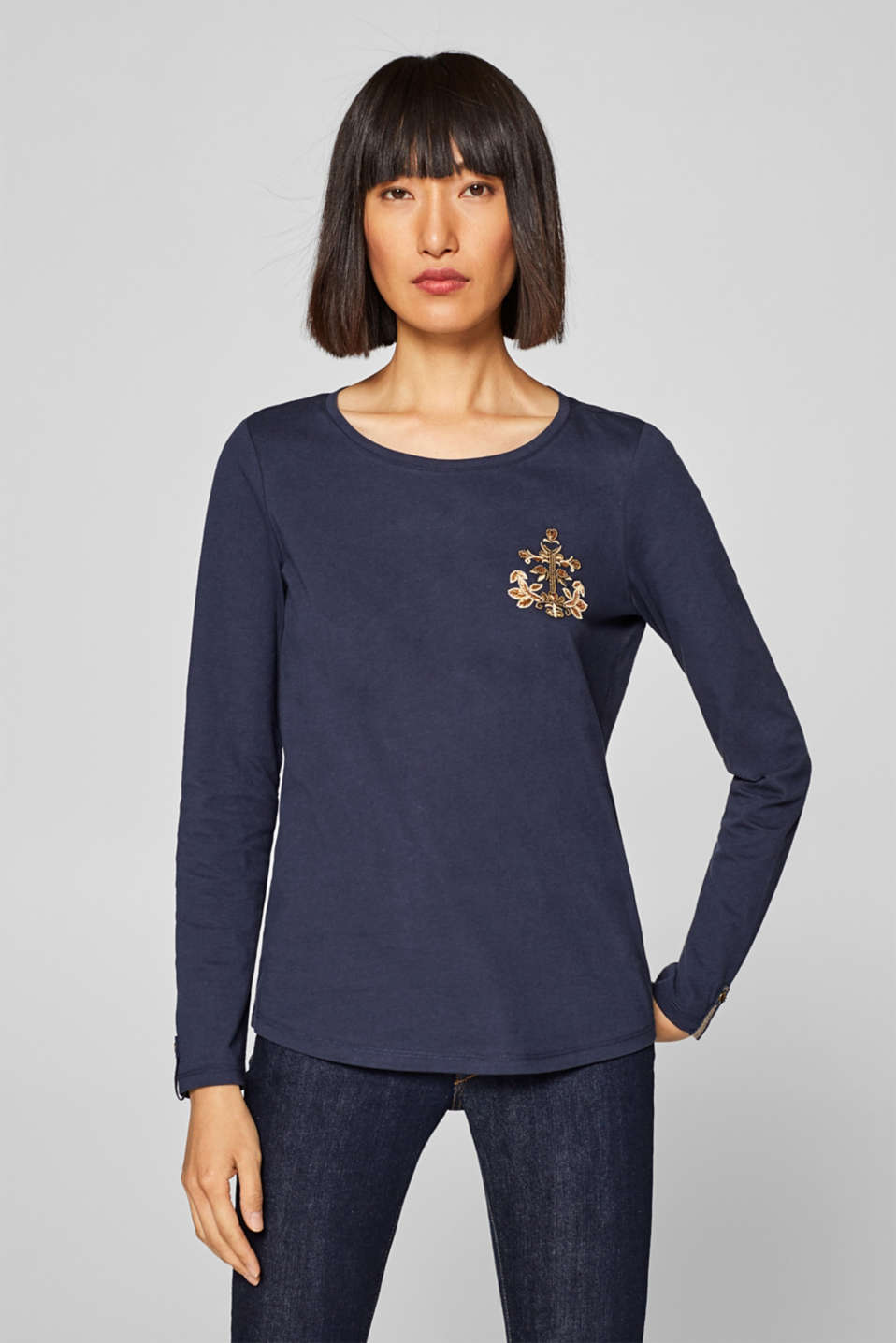 Esprit - Long sleeve top with appliquéd beads