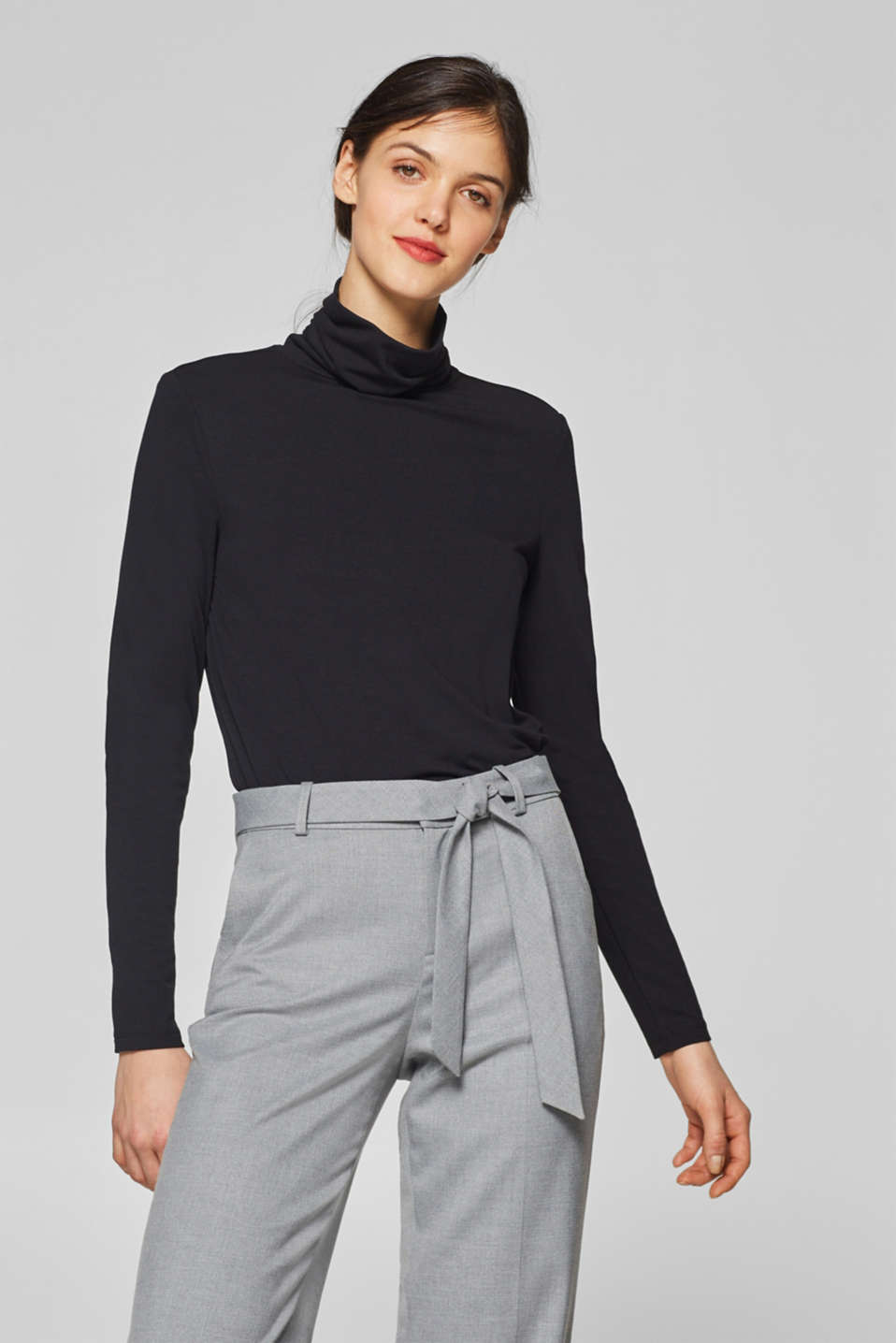 Esprit - Long sleeve polo neck top with a high-low hem