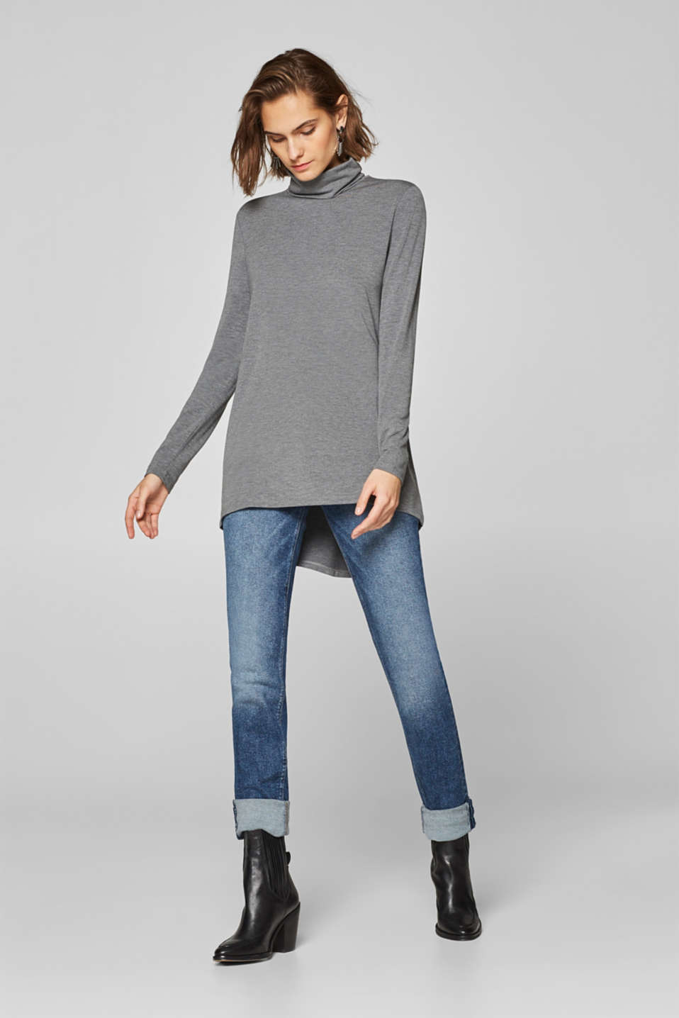 Esprit - Long polo neck long sleeve top with a high-low hem