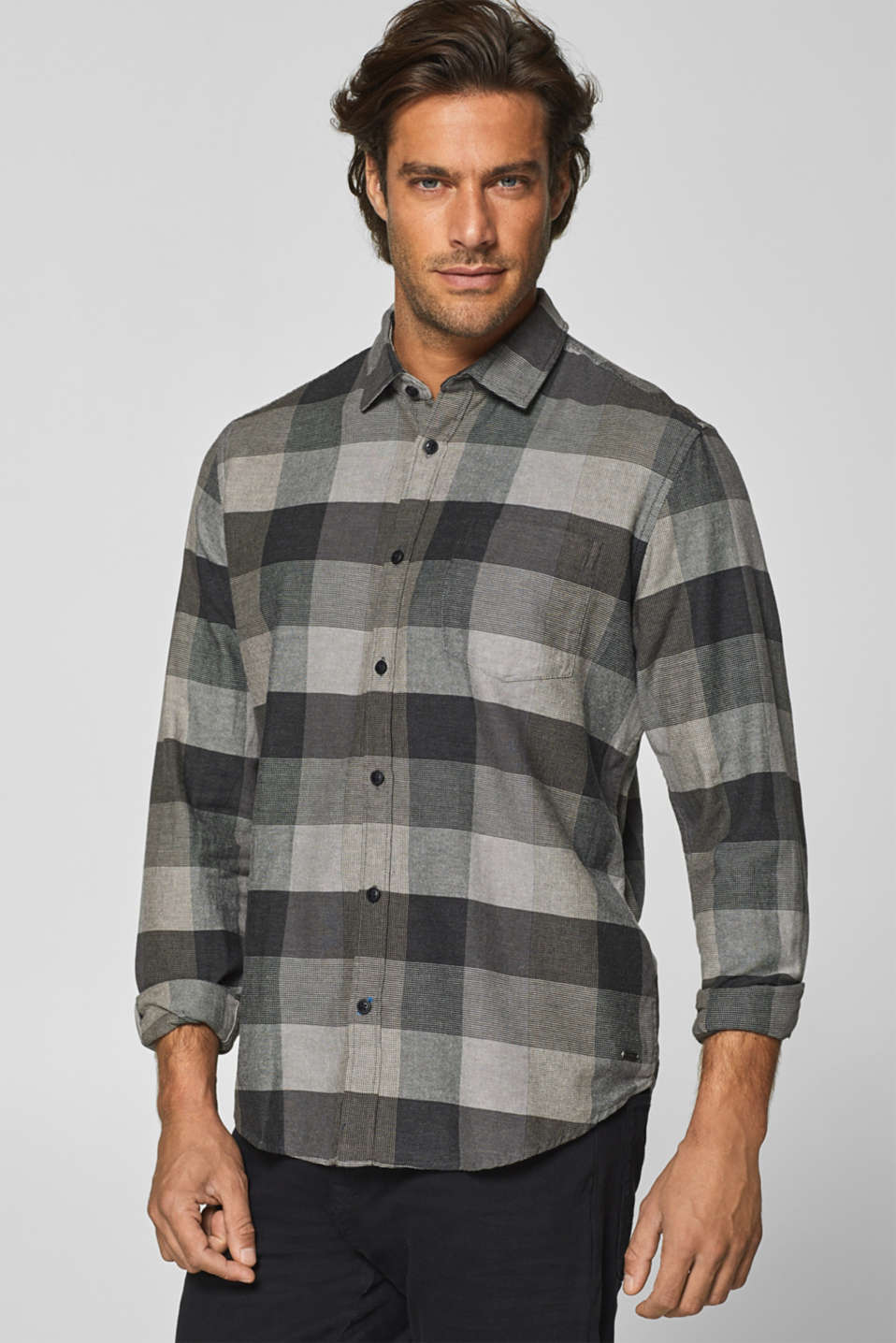 Esprit - Shirt with woven checks, 100% cotton