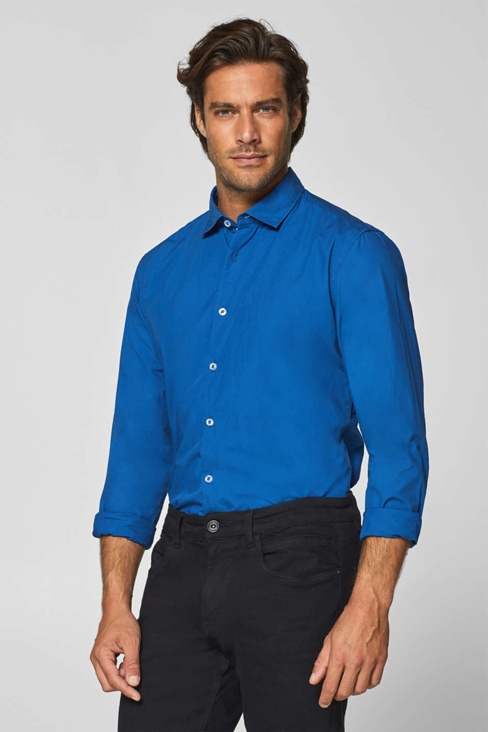 Esprit - Easy-iron shirt in 100% cotton