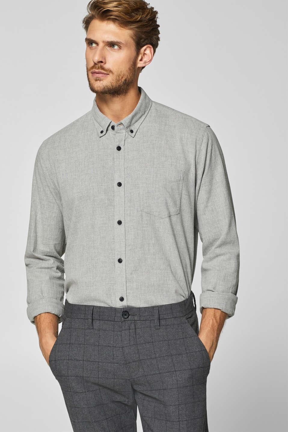 Esprit - Textured shirt with a flannel feel
