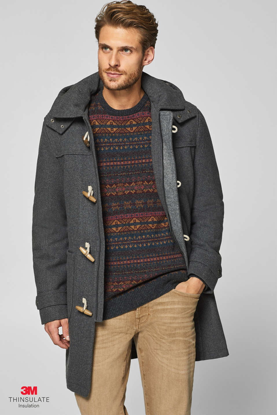 Esprit - Wool blend: duffel coat with 3M® Thinsulate® padding