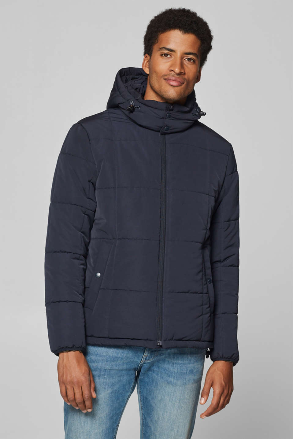 Esprit - Quilted jacket with a detachable hood