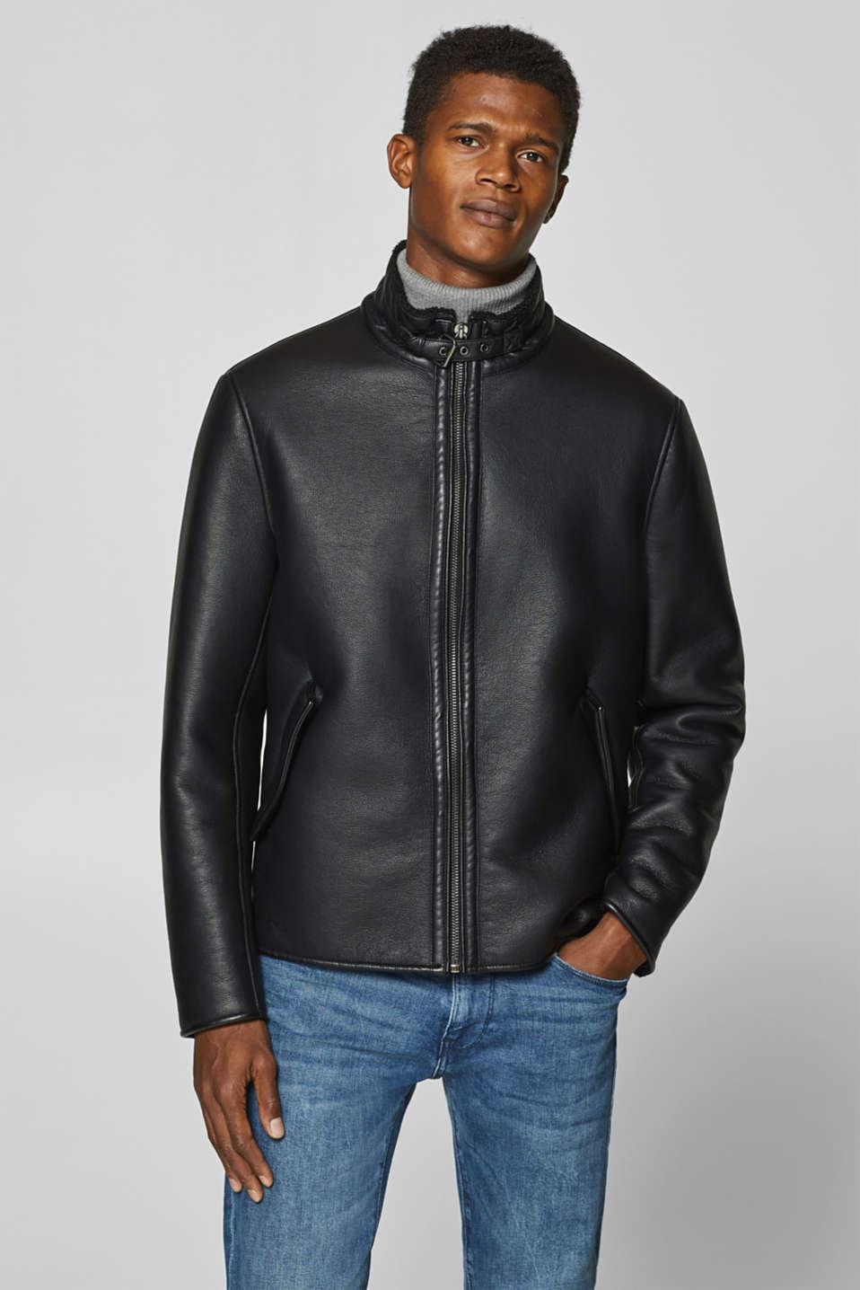 Esprit - Faux leather jacket with teddy fur lining