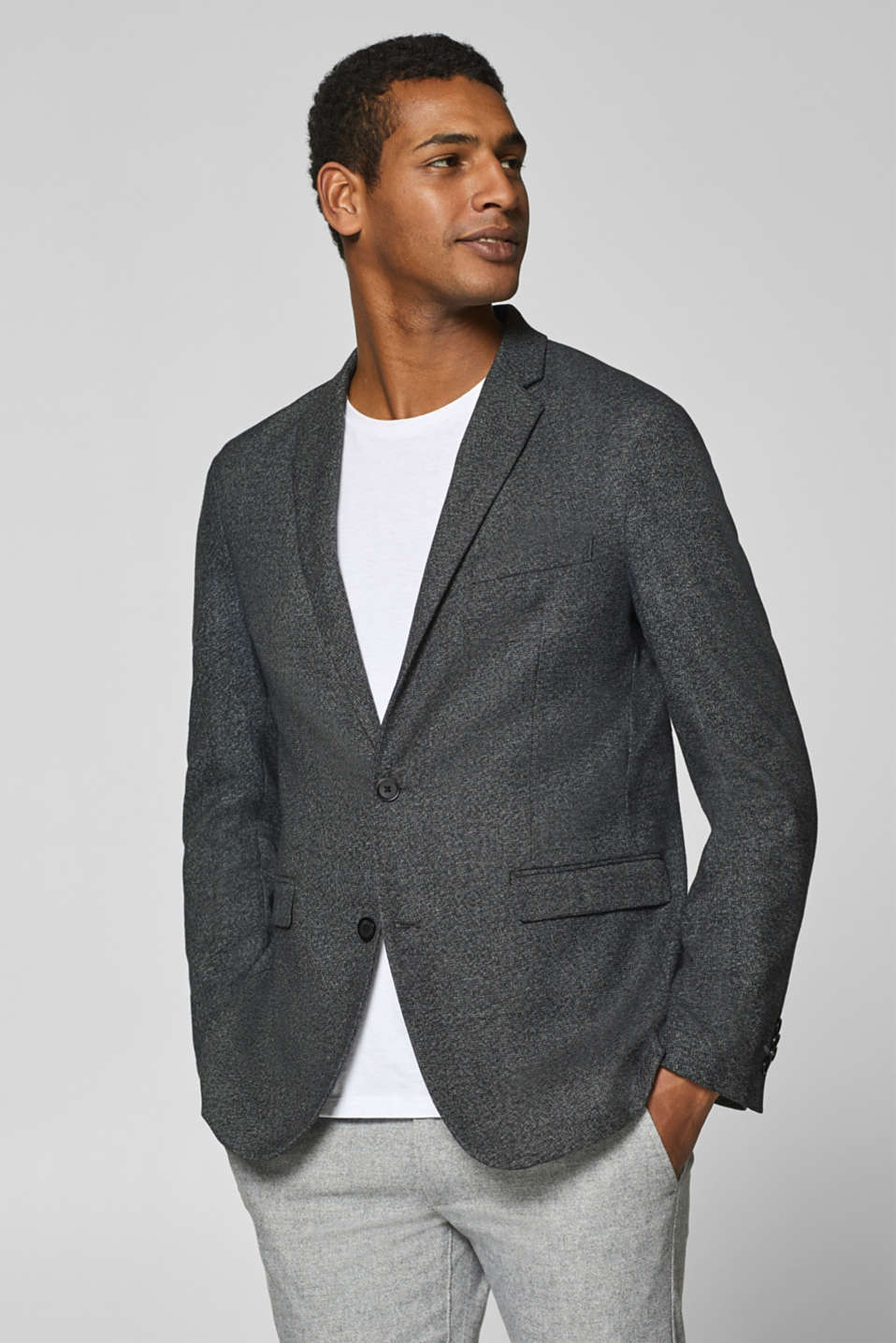 Esprit - Melange tailored jacket with a lapel collar