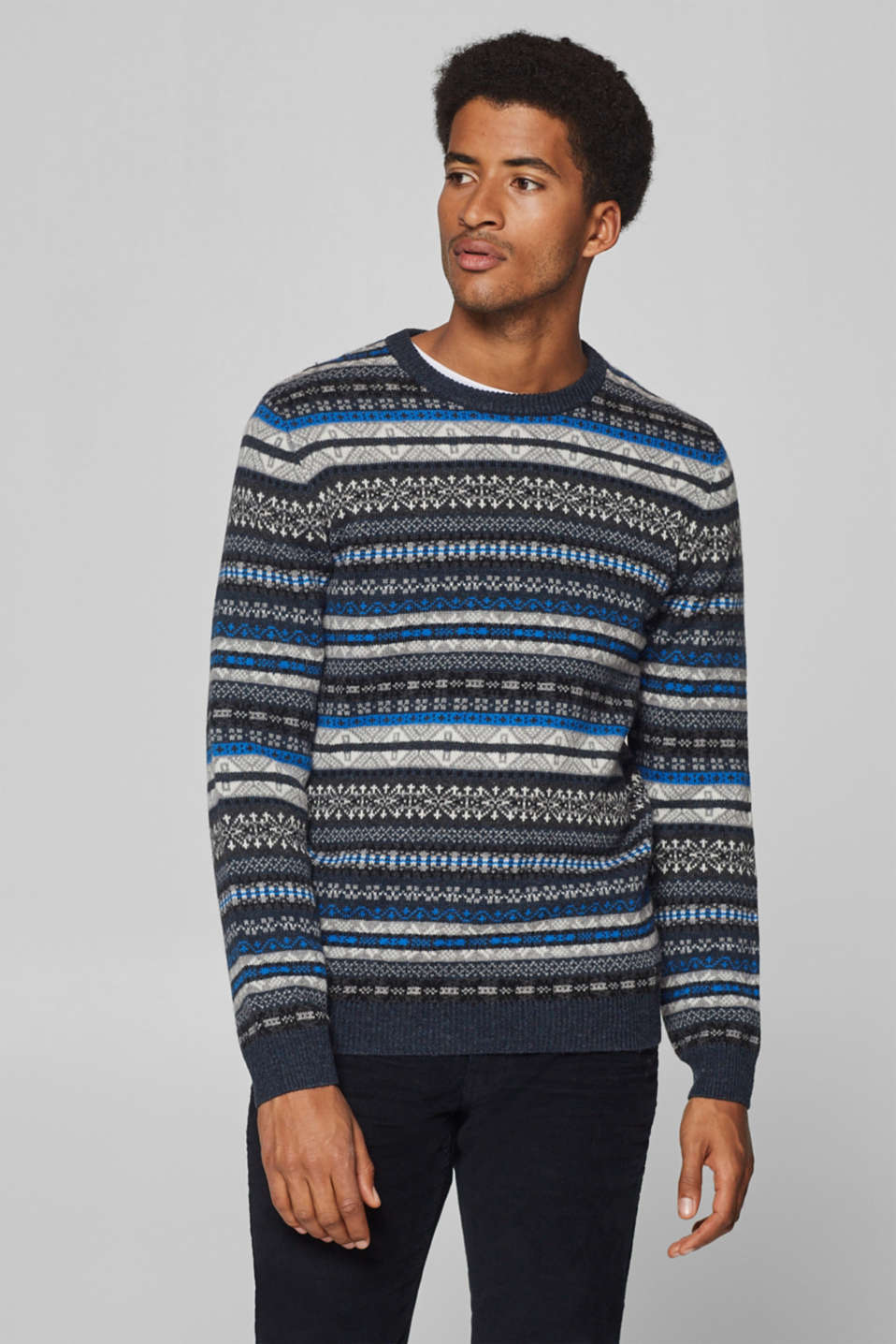 Esprit - Fair Isle jumper with wool