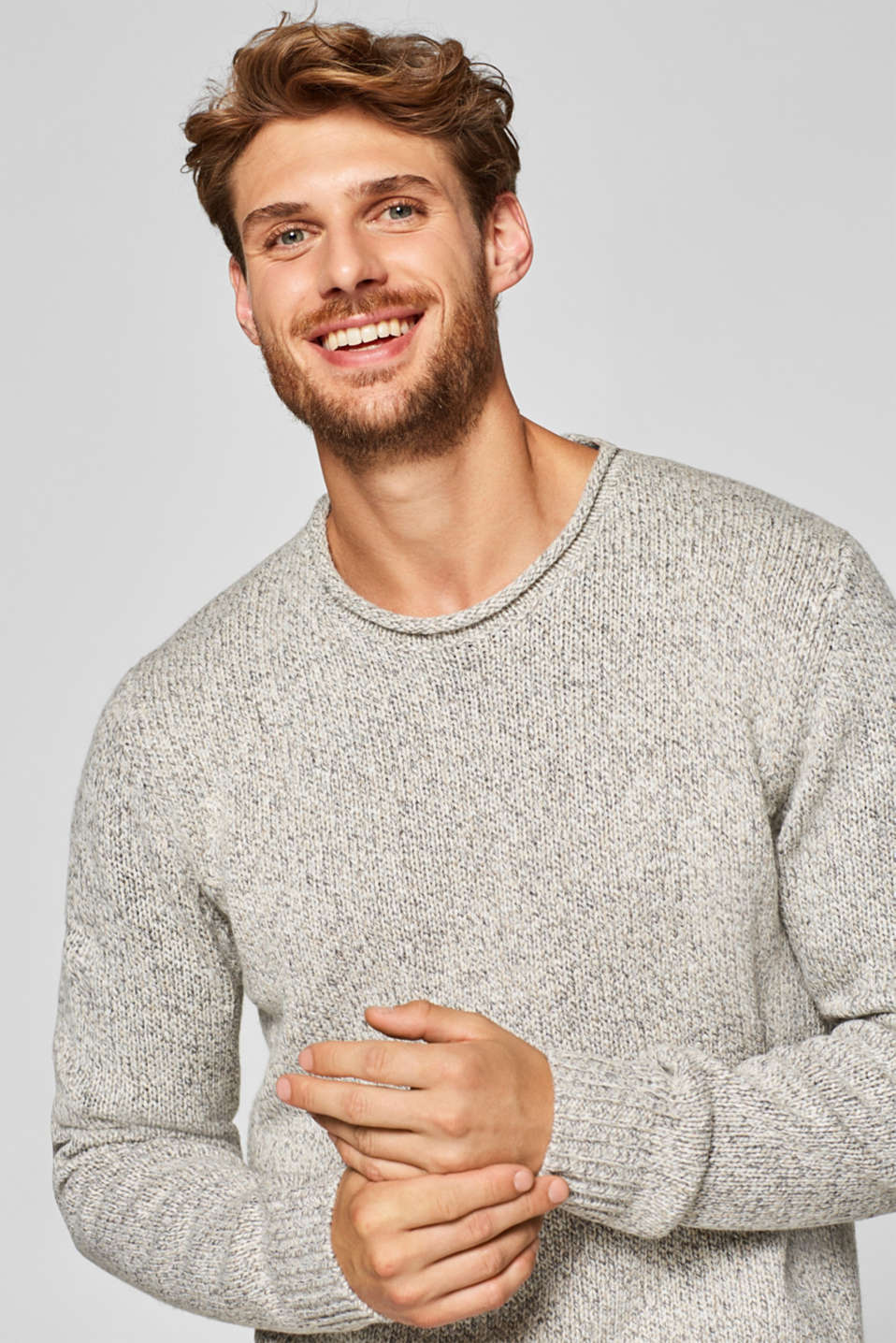Esprit - With wool: jumper with rolled edges