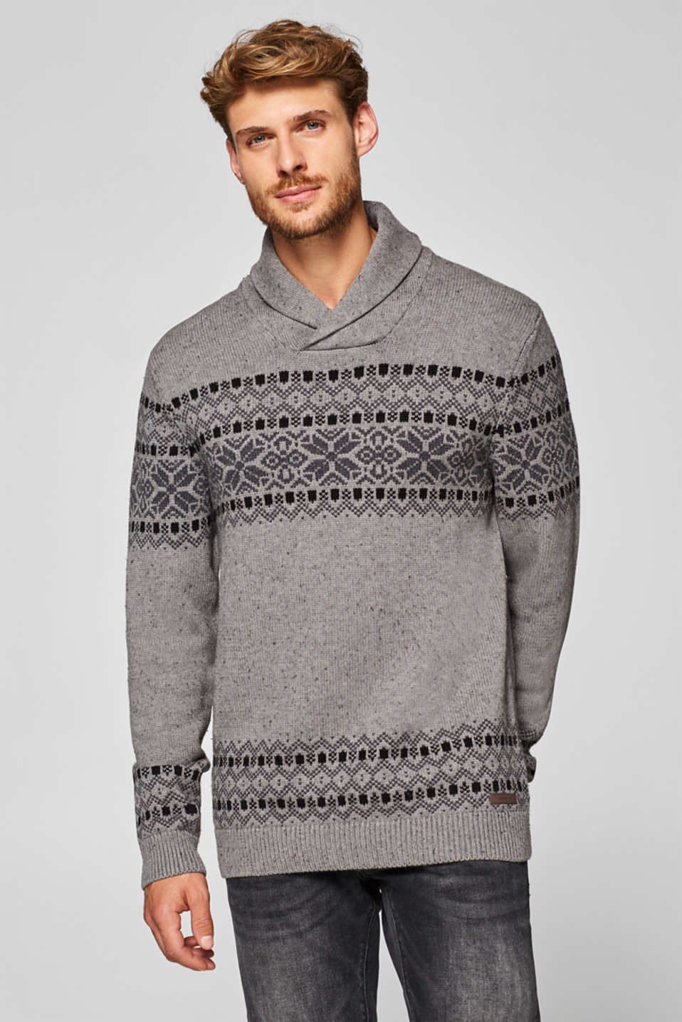 Esprit - With wool: Jumper with intarsia pattern
