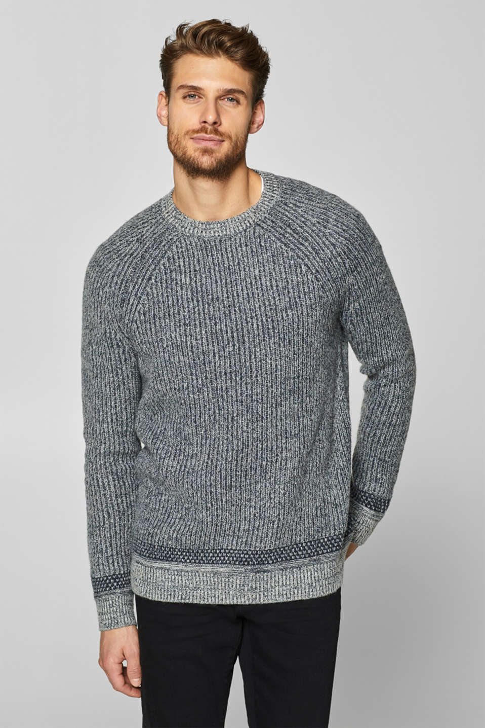 Esprit - With wool: Jumper with a mixed texture