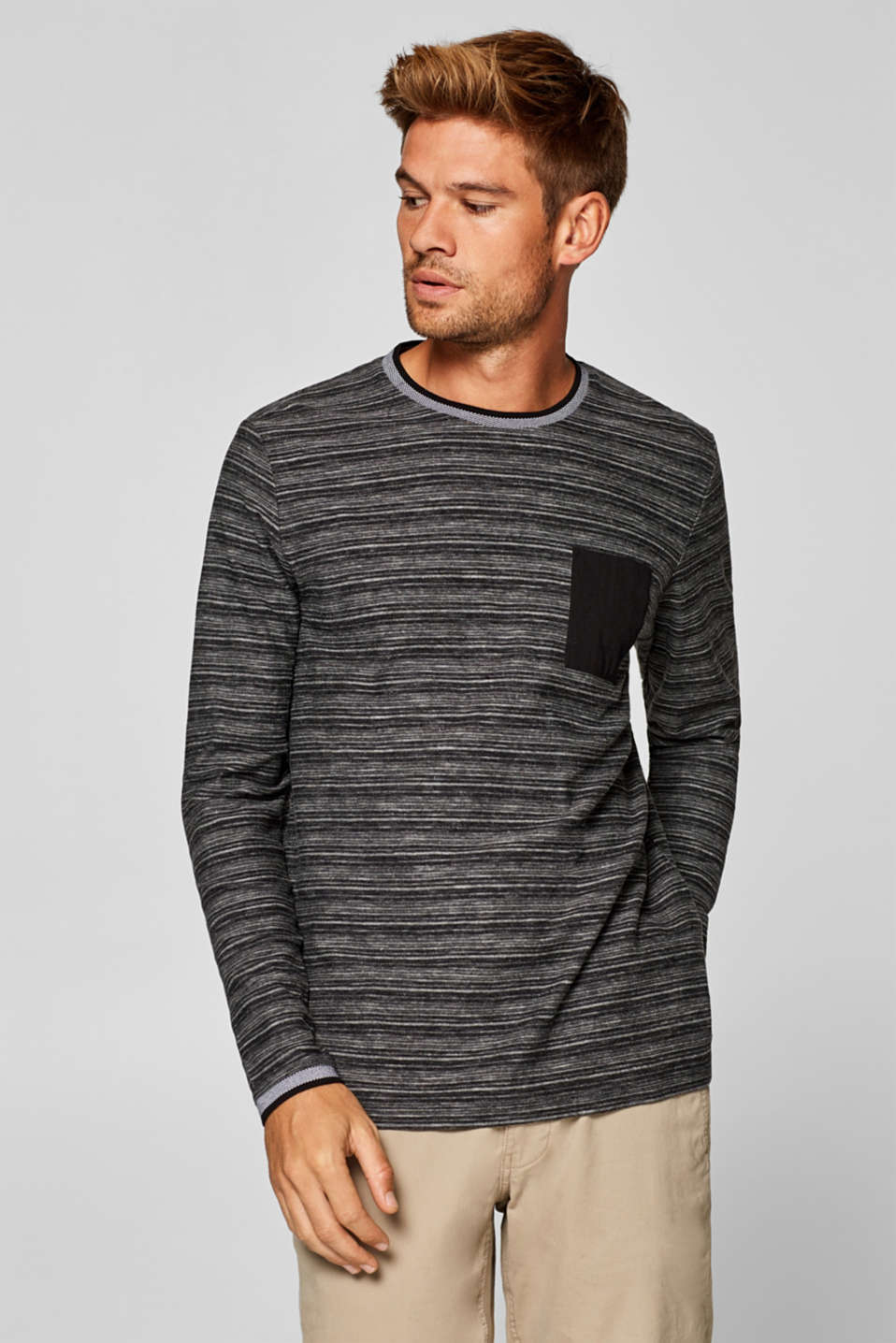 Esprit - Long sleeve jersey T-shirt with woven stripes