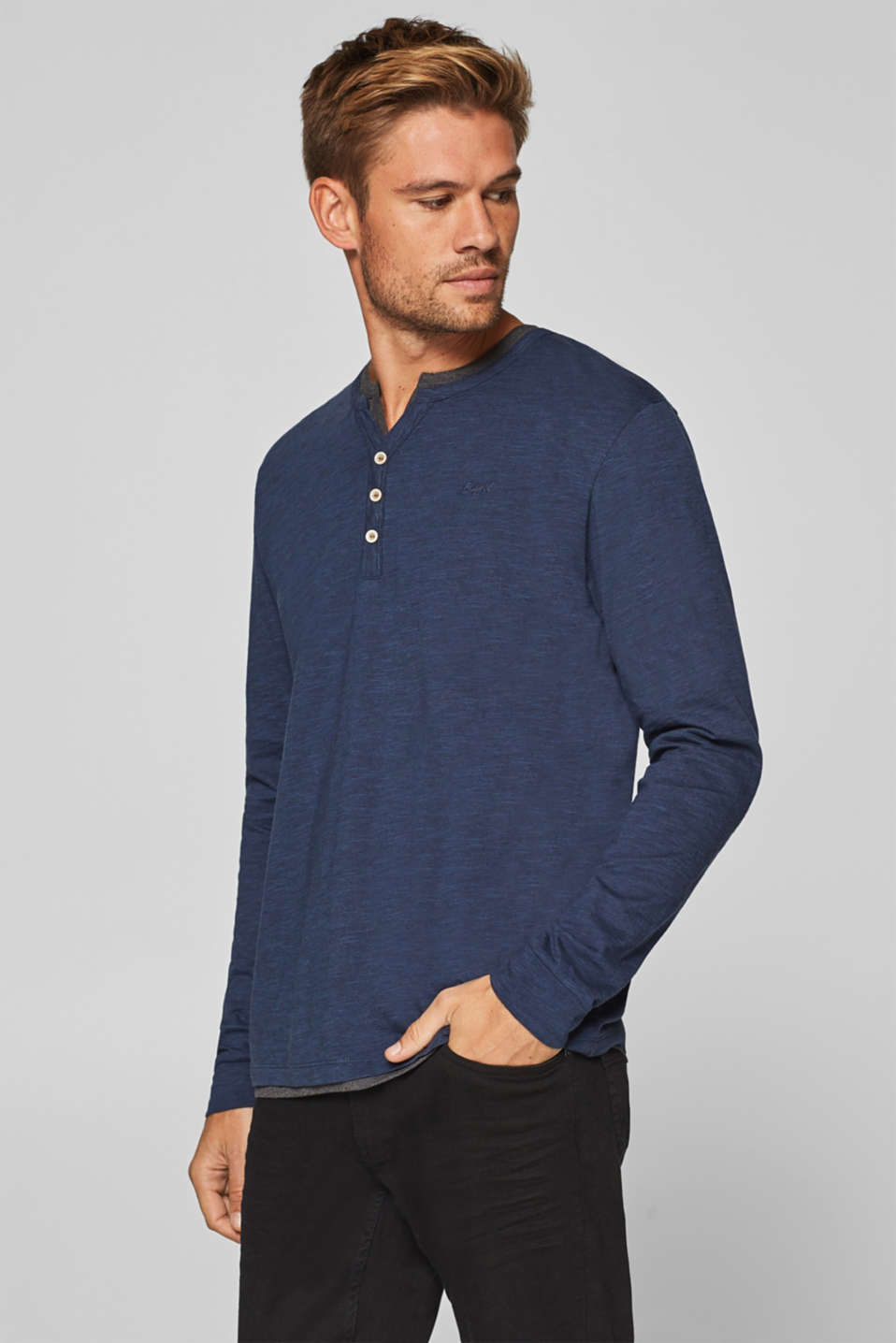 Esprit - Long sleeve T-shirt with layering effect, 100% cotton