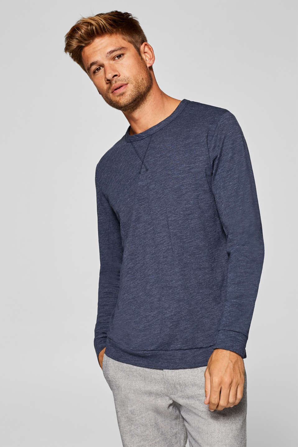 Esprit - Slub-effect long sleeve jersey top