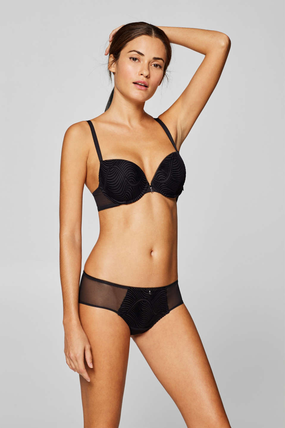 Esprit - Padded push-up bra with a velvety print