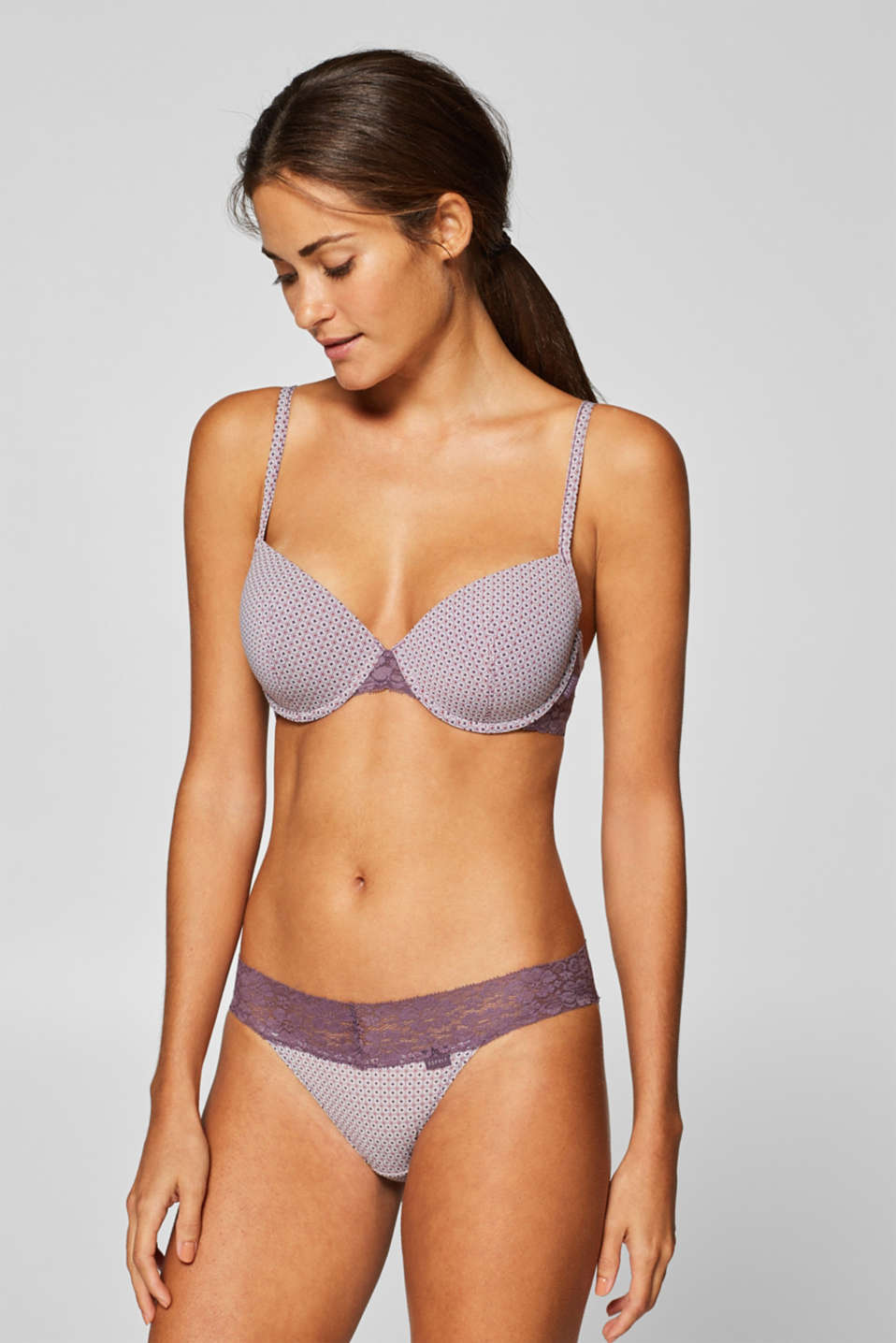 Esprit - Padded underwire bra with a mini print and lace