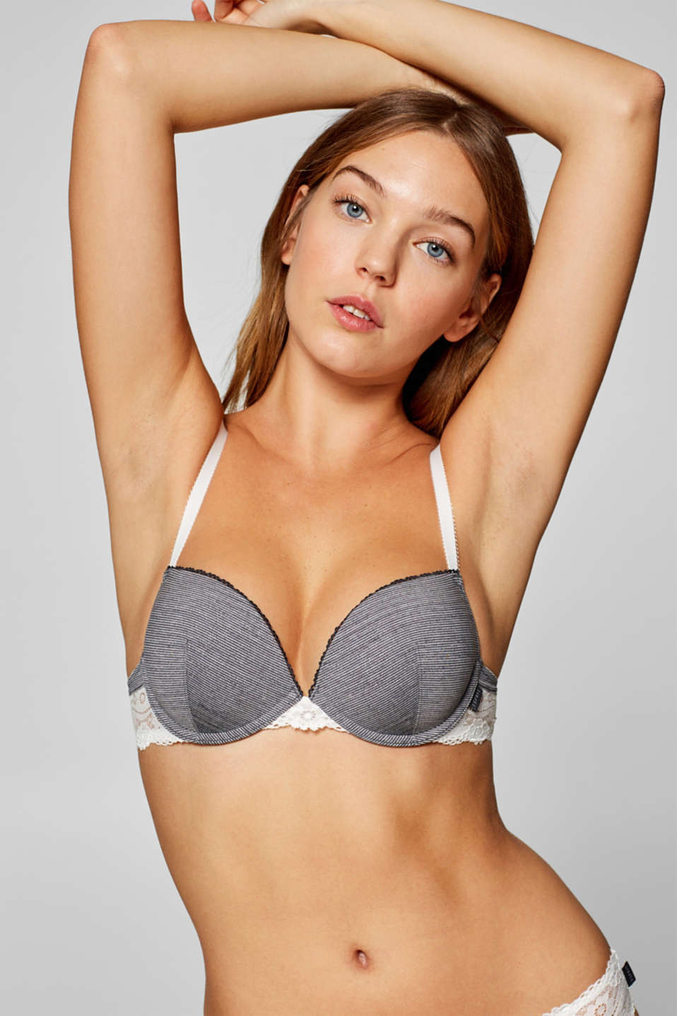Esprit - Push-up bra with stripes and lace