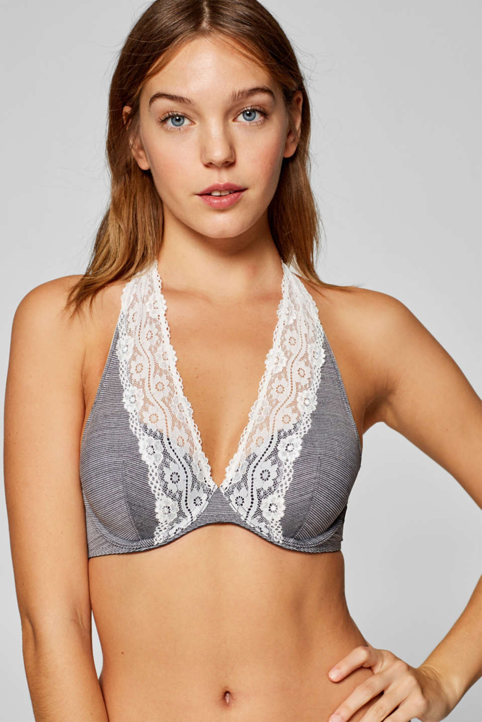 Esprit - Halterneck underwire bra with stripes and lace