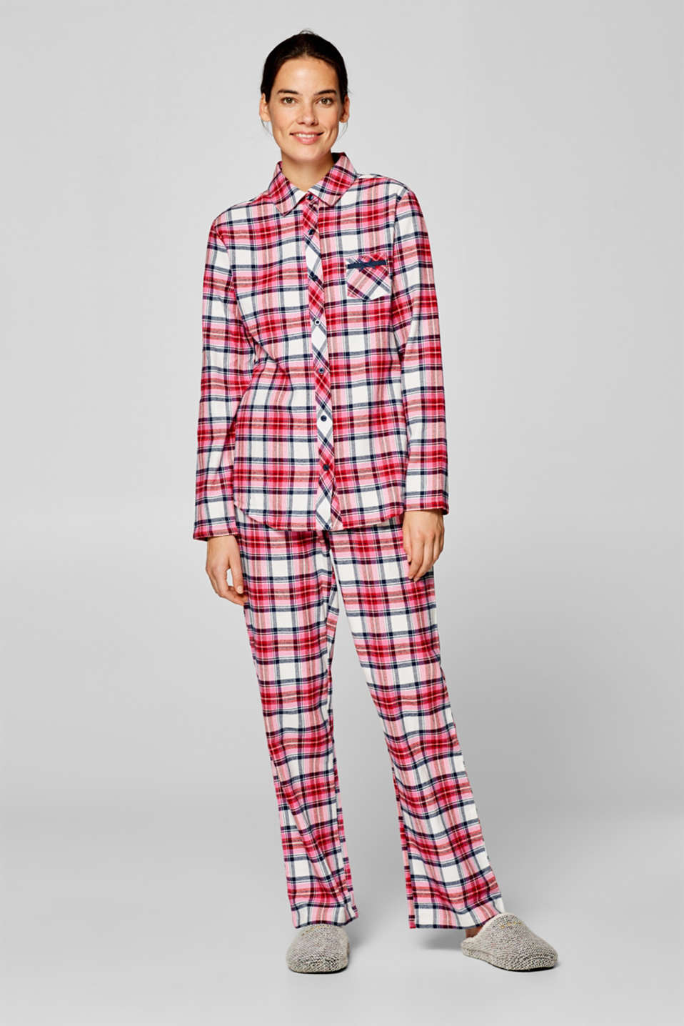 Esprit - Flannel pyjamas with check pattern, 100% cotton