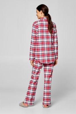 bdafc103b72 Esprit - Flanellen pyjama met ruitmotief, 100% katoen kopen in de ...