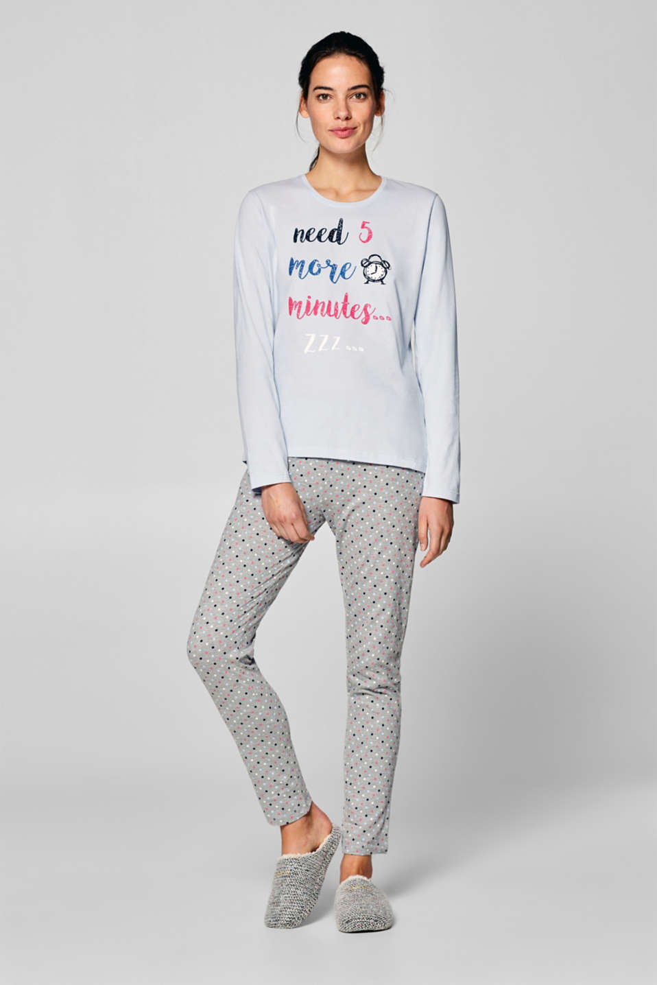 Esprit - Jersey pyjamas with print and polka dots