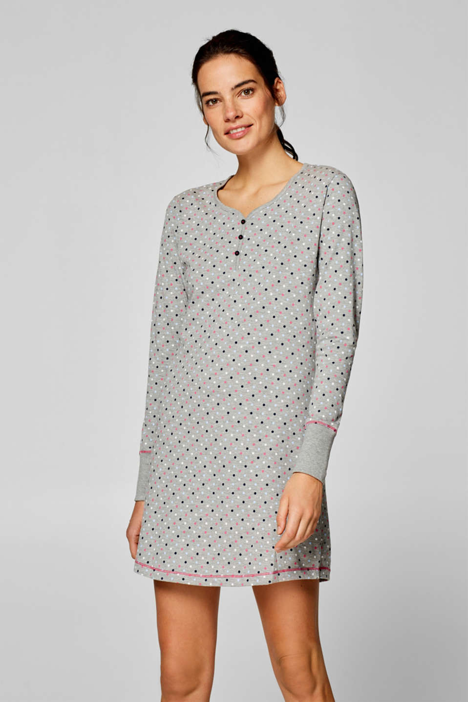 Esprit - Jersey nightshirt with a polka dot print
