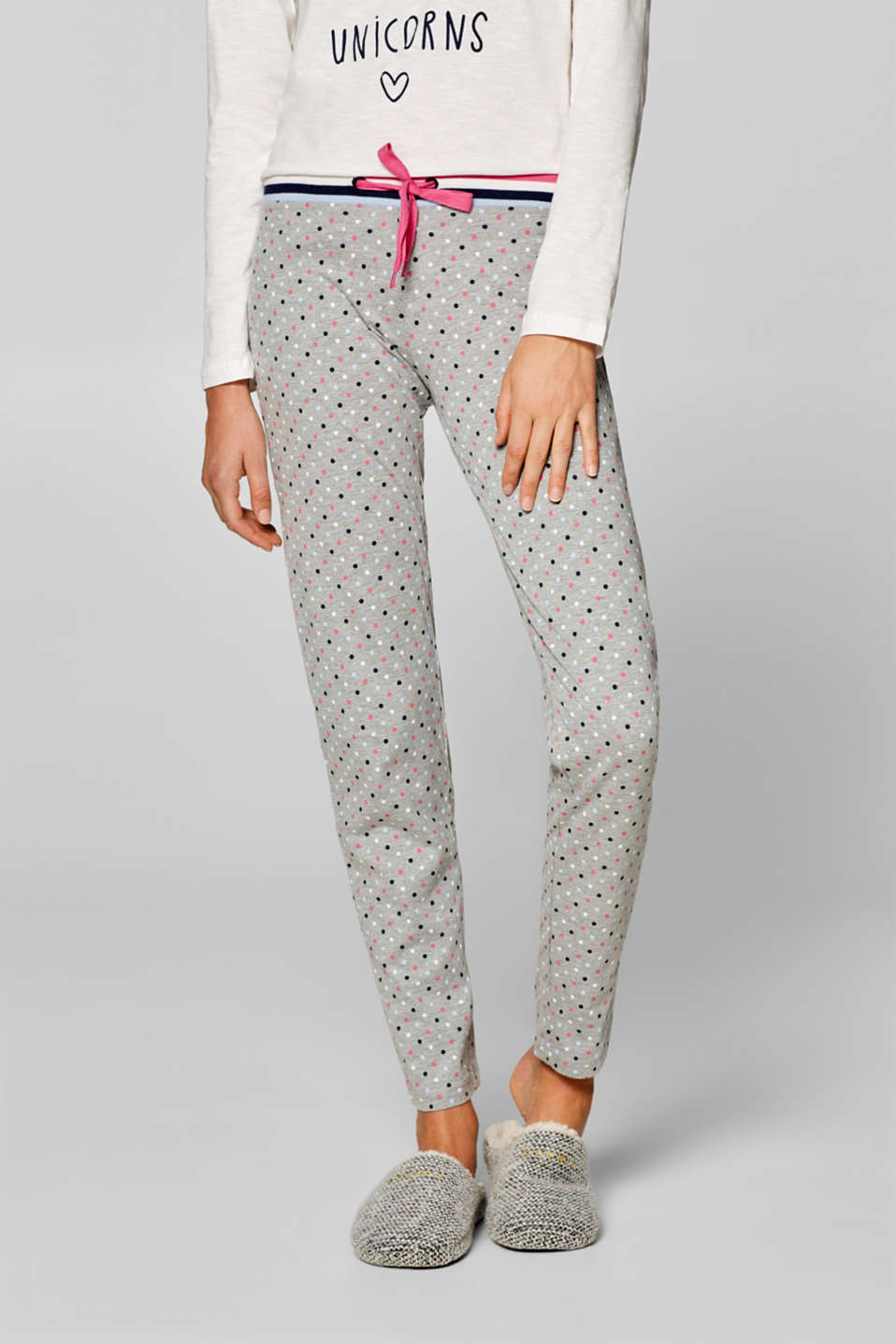 Esprit - Jersey pyjamas bottoms with a polka dot print