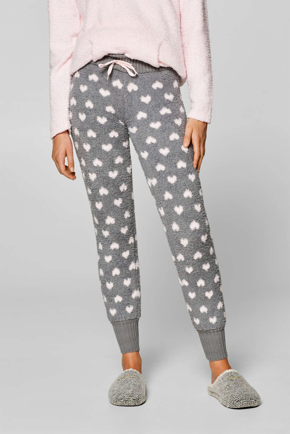 Esprit - Plush pyjama bottoms with a heart pattern