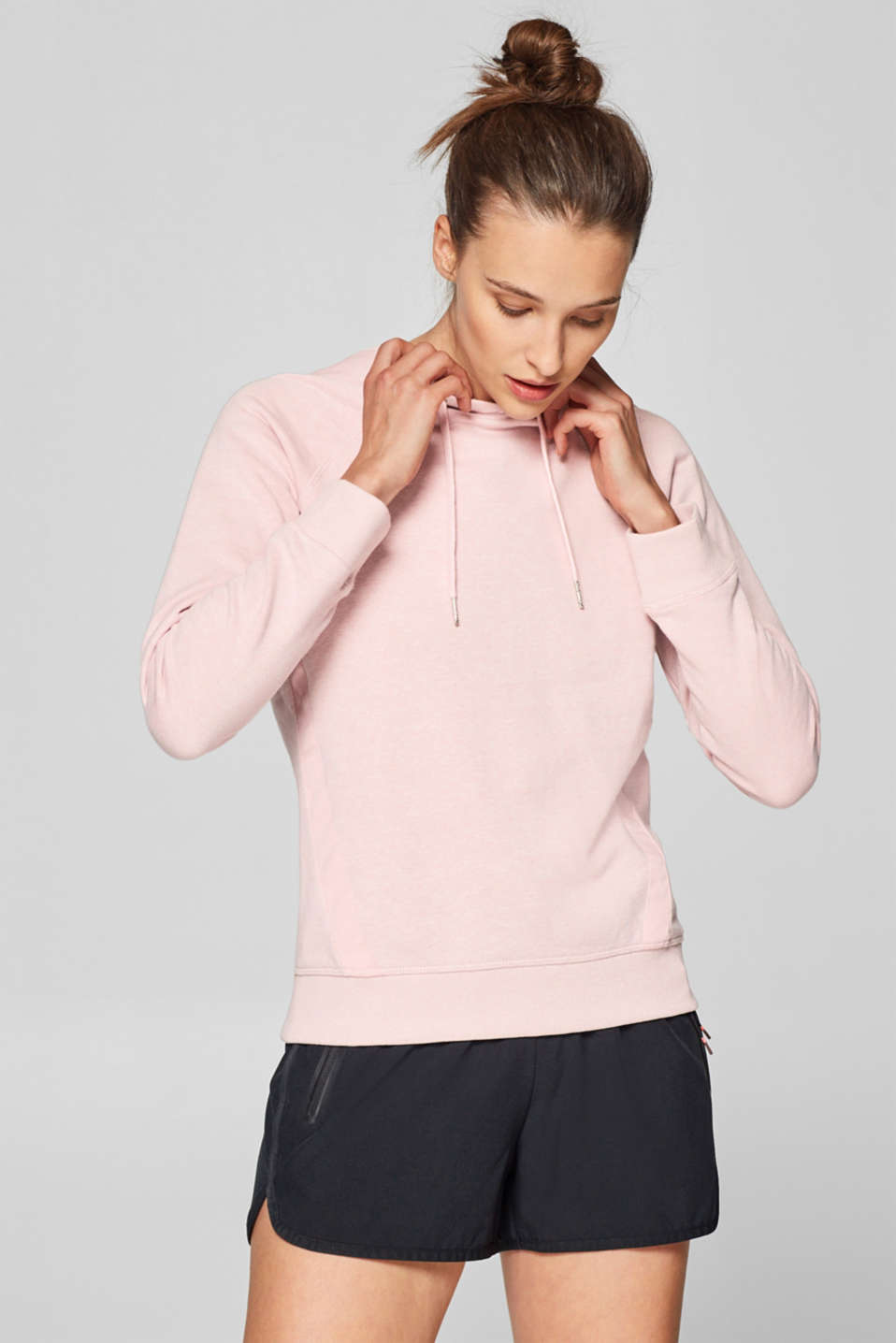 Esprit - Melange hoodie with grosgrain ribbon details