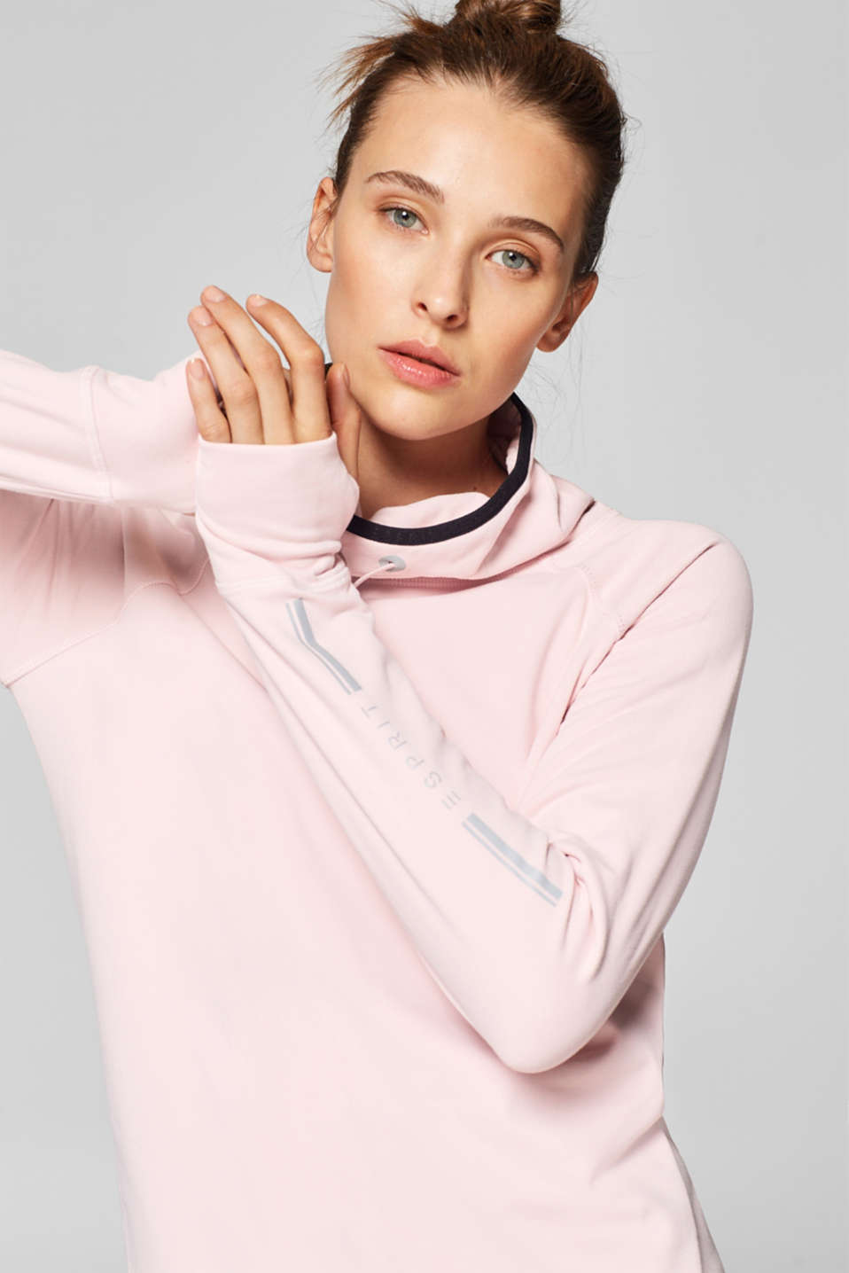 Esprit - Lightweight sweatshirt with a stand-up collar, E-DRY