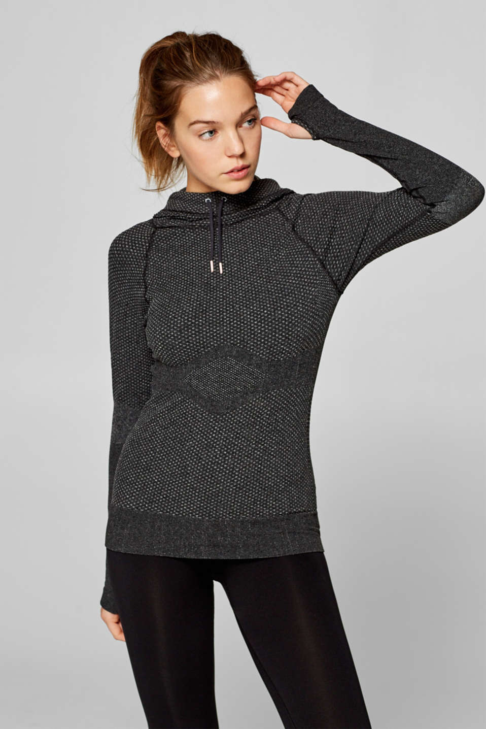 Esprit - Textured seamless long sleeve top with a hood, E-DRY