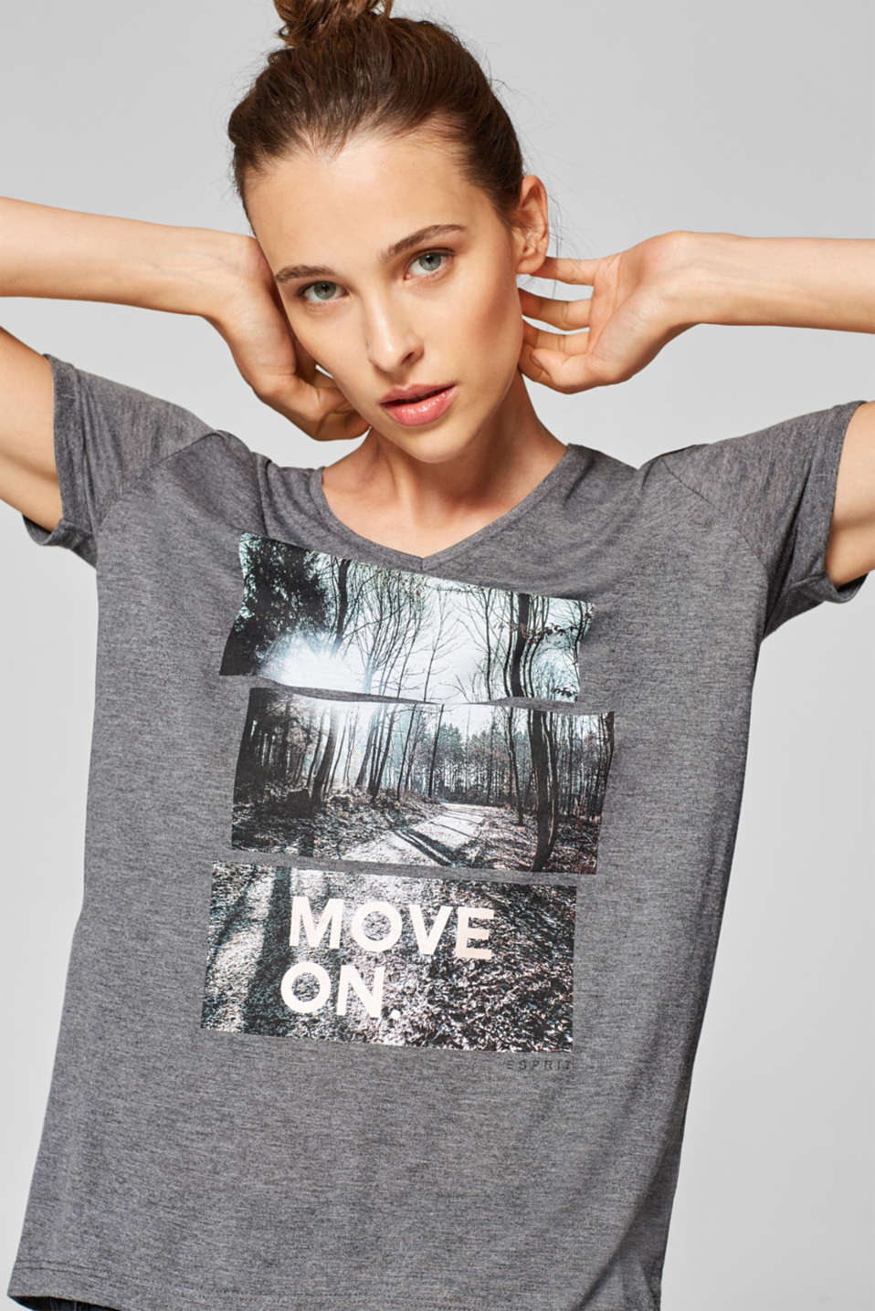 Esprit - Slub top with an artwork print