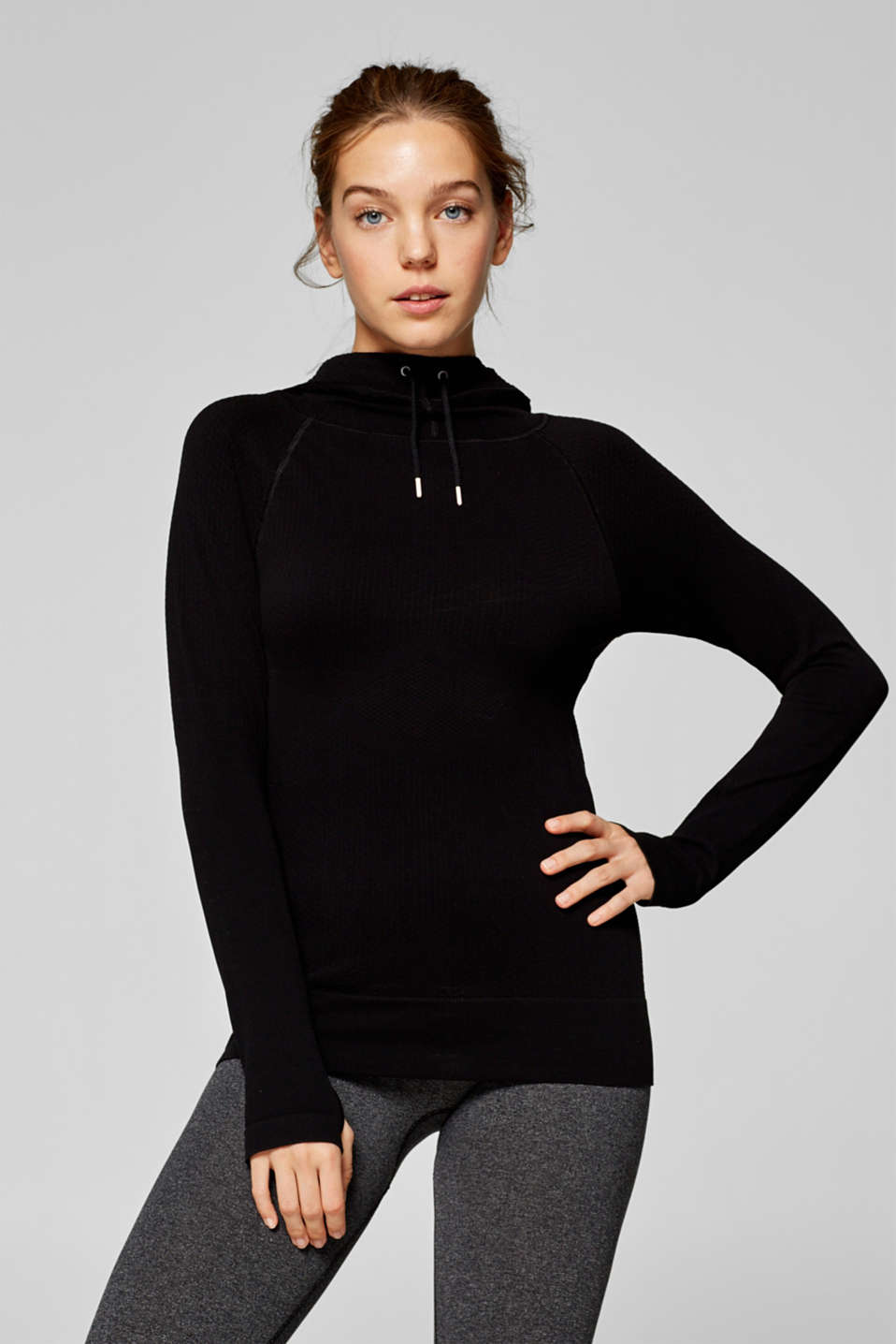 Esprit - Textured long sleeve top with a hood, E-DRY