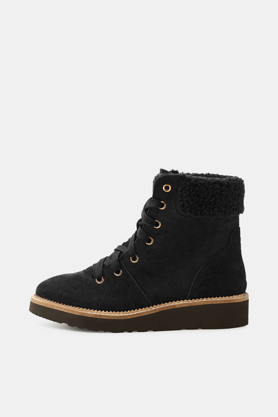 Esprit - Lined lace-up suede boots