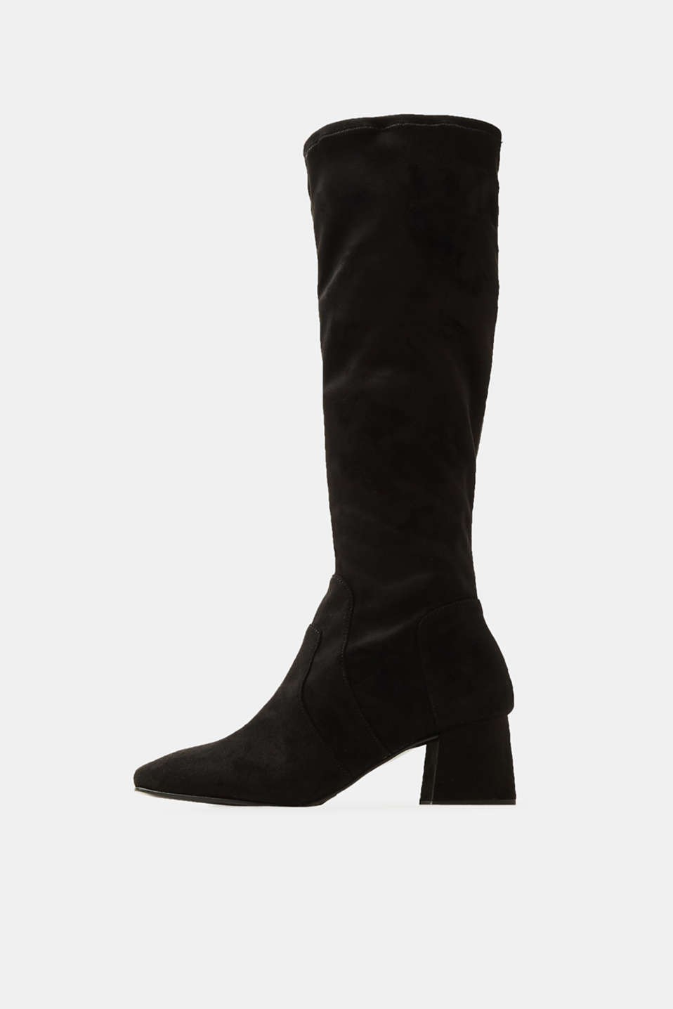 Esprit - Long boots with block heel, made of velour
