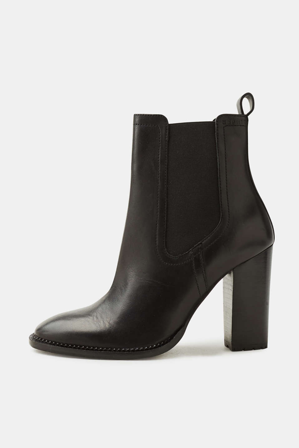 Esprit - Leather boots with a block heel