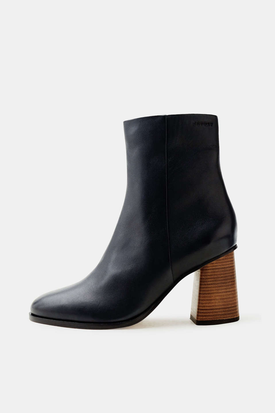 Esprit - Leather ankle boots with a wood-effect heel