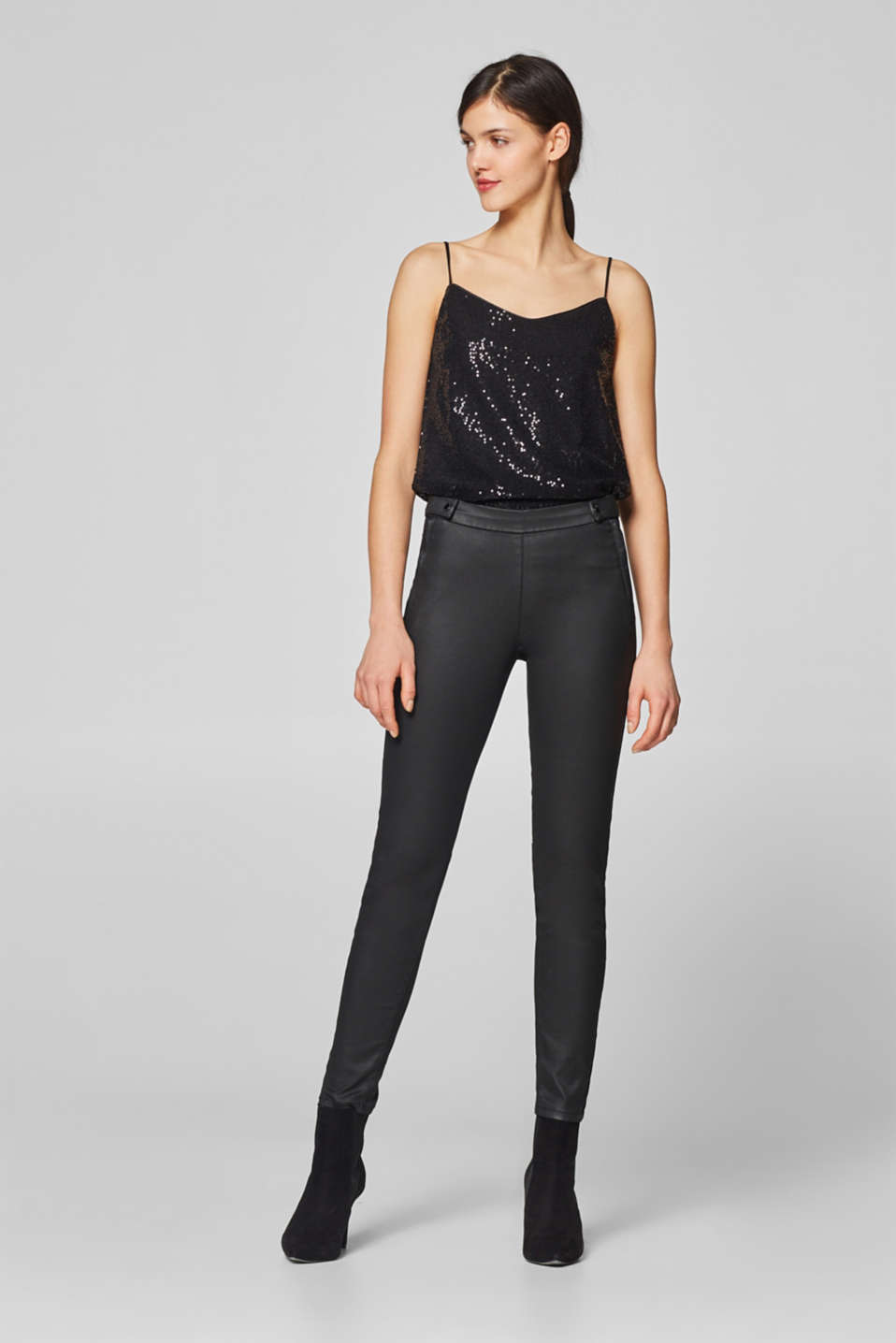 Esprit - Coated stretch trousers with button-fastening waist straps
