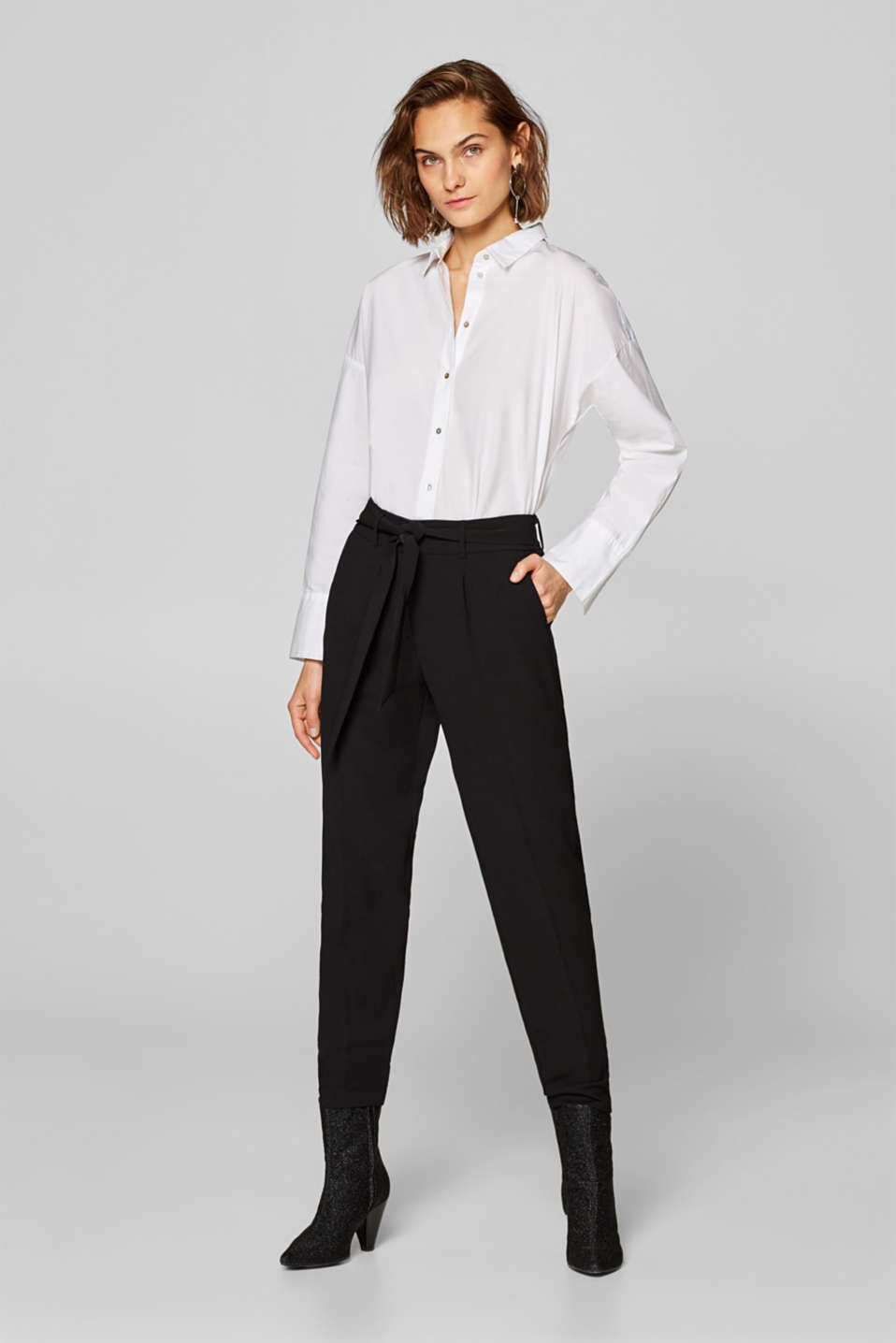 Esprit - CRÊPE SATIN mix + match trousers with a belt