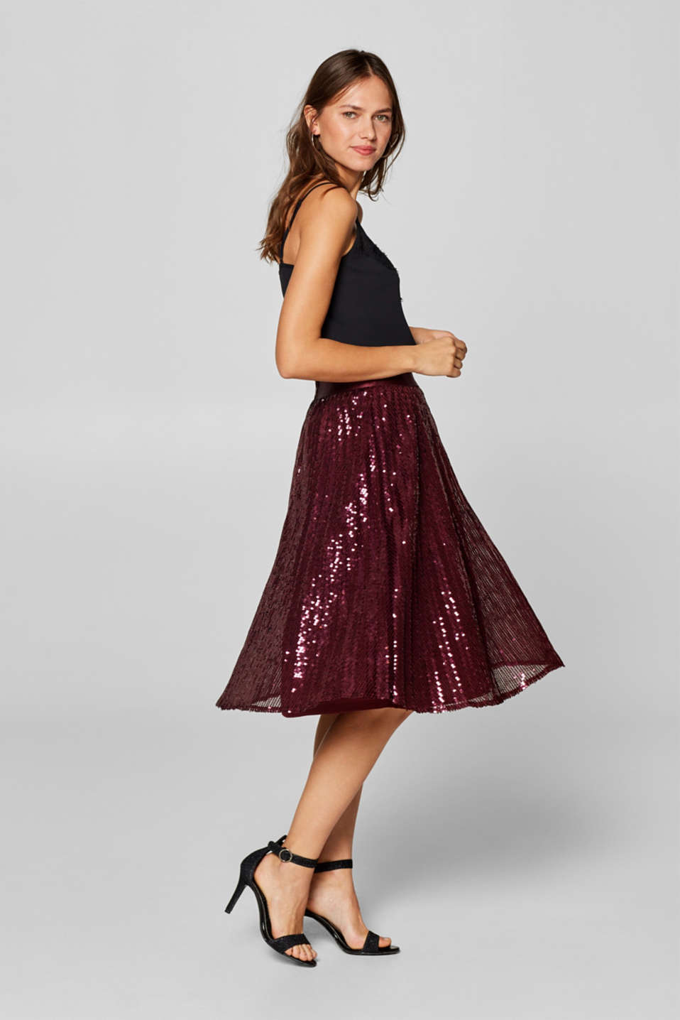 Esprit - Pleated mesh skirt with sequins