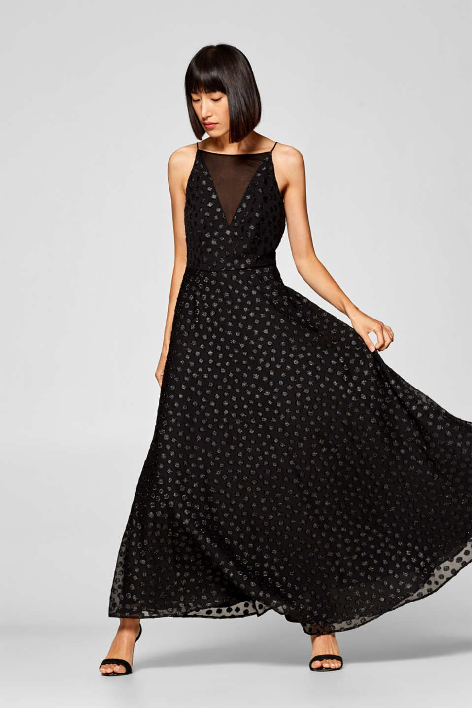 Esprit - Evening dress with glittering jacquard dots at our Online Shop 8f1e75a91a