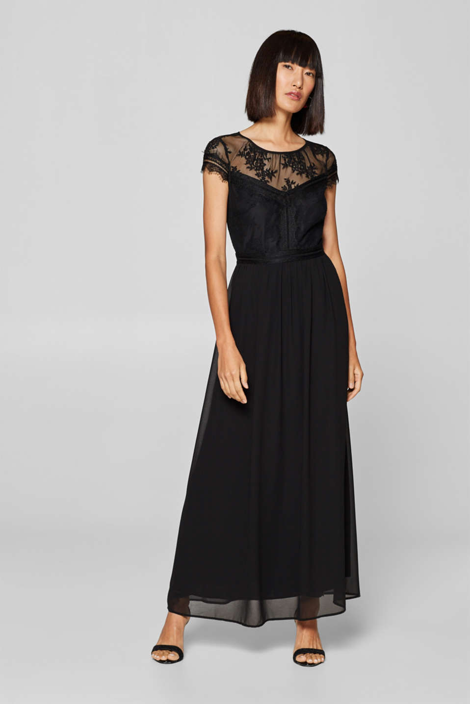 Esprit - Chiffon maxi dress with lace