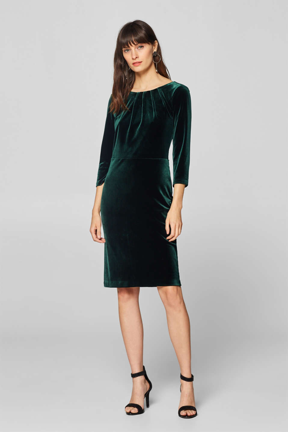 Esprit - Stretch velvet dress with subtle pleating