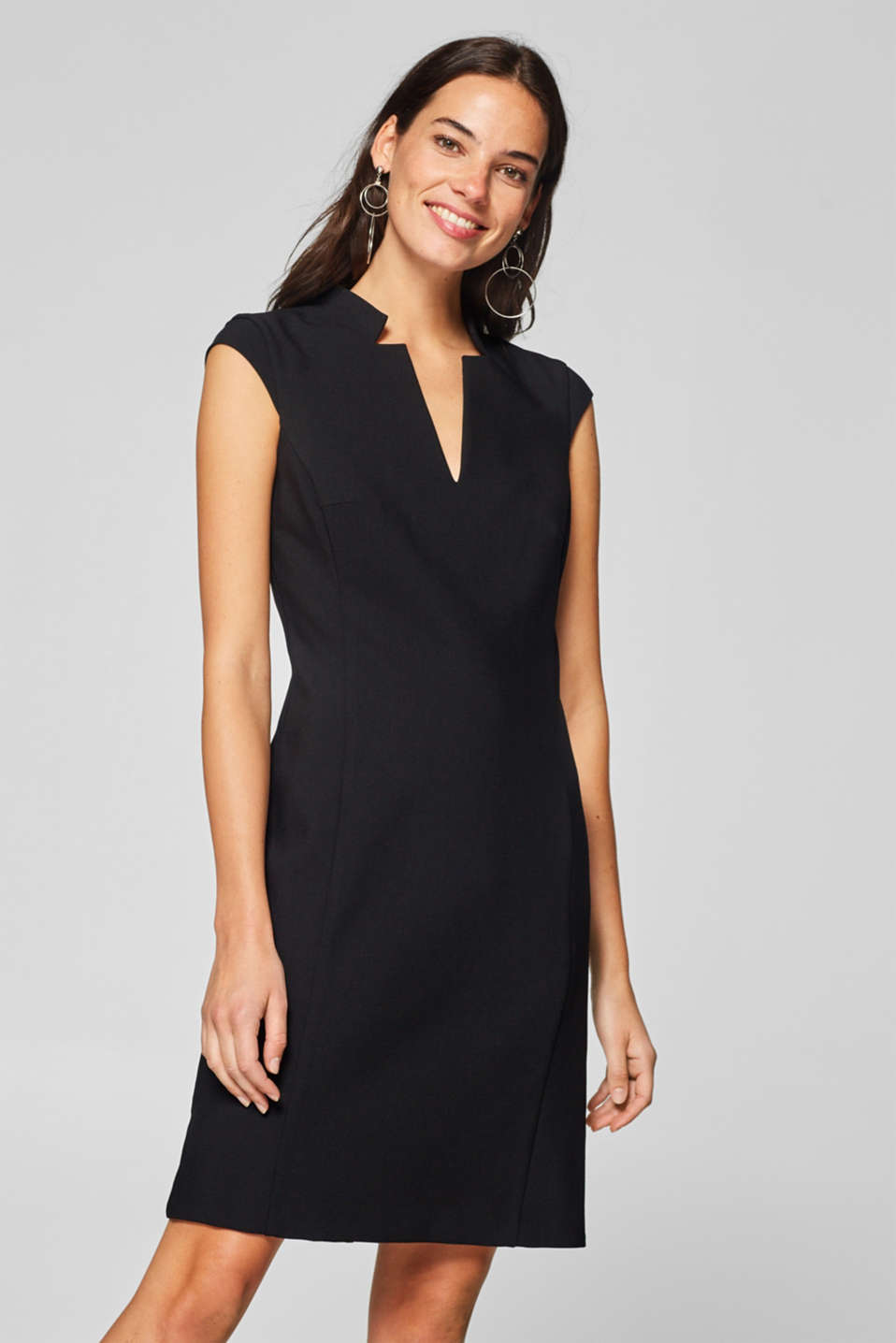 Esprit - Sheath dress with a stand-up collar and stretch