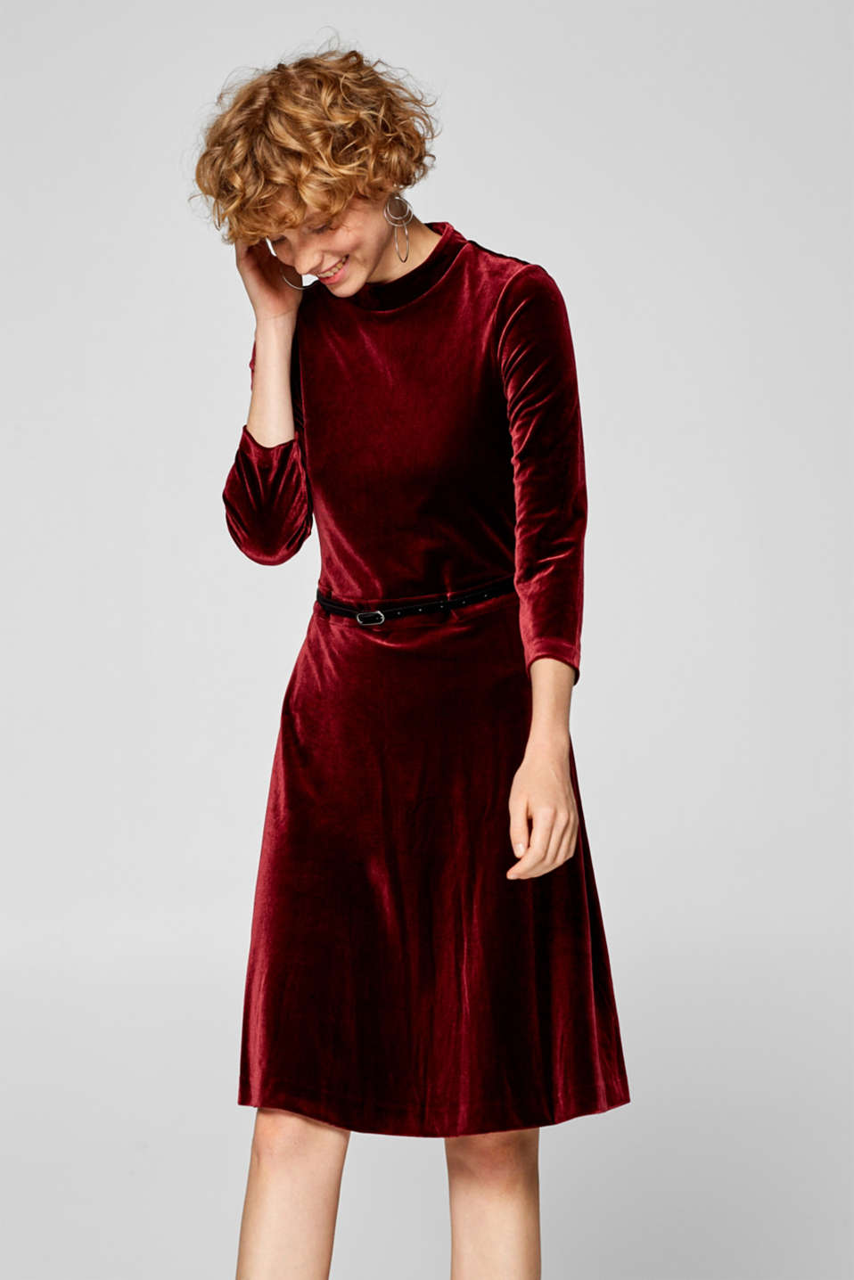 Esprit - Velvet dress with band colour and belt