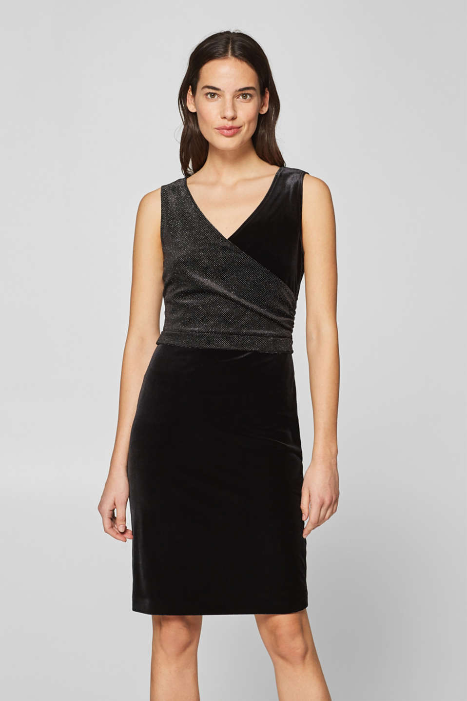 Esprit - Velvet dress with wrap-over effect and glitter