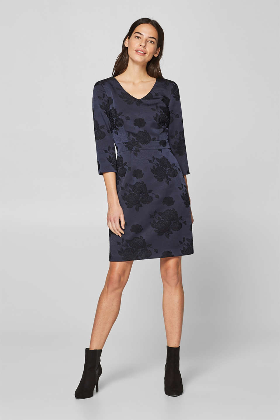 Esprit - Sheath dress with stretch and jacquard pattern