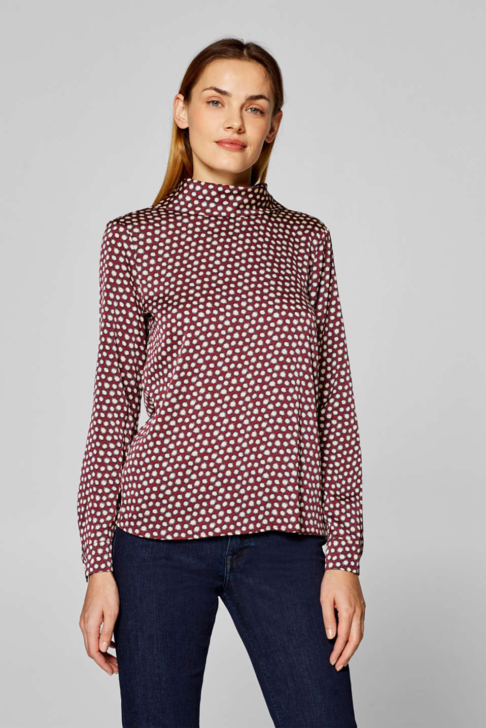 Esprit - Satin blouse with a stand-up collar and bow